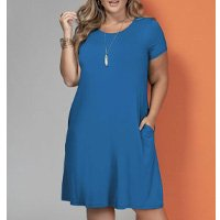 Quintess - Vestido com Bolsos Azul com Mangas Curtas