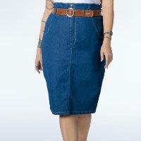 Quintess - Saia Clochard Jeans Cintura Alta com Bolsos