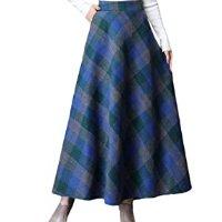 Saia longa feminina Abetteric xadrez retrô de lã grossa outono inverno