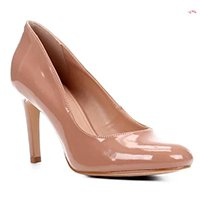 Scarpin Shoestock Verniz Salto Alto - Nude