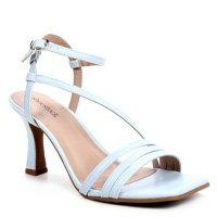 Sandália Shoestock Salto Sino Tiras Feminina - Azul Claro