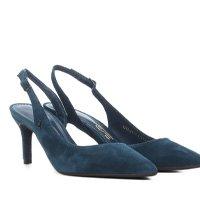 Scarpin Santa Lolla Salto Médio Slingback - Azul