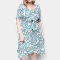 Vestido Naif Plus Size Curto Floral Amarração - Verde