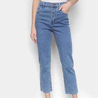 Calça Jeans Reta Sawary Estonada Cintura Alta Feminina - Azul
