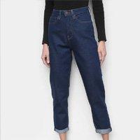 Calças Jeans Calvin Klein Cintura Alta Mom Feminina - Marinho