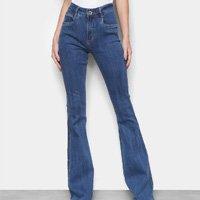 Calça Jeans Flare Lança Perfume Cintura Alta Feminina - Azul