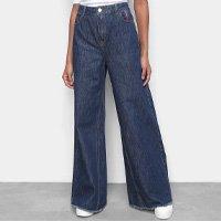 Calça Jeans Pantalona Ellus 2nd Floor Cintura Alta Feminina - Azul
