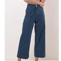 Calça Wide leg Cropped Cintura Alta Comfort ERVADOCE Feminina - Azul