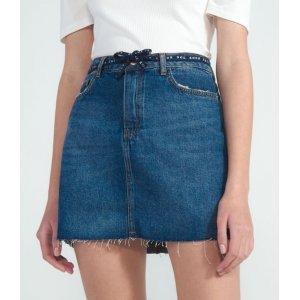 Saia Jeans Lisa com Puídos e Cordão