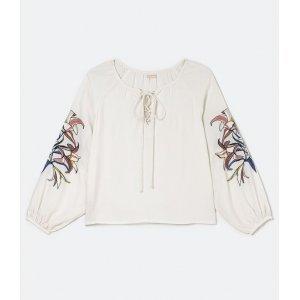 Blusa Bata Manga Longa com Bordado Floral