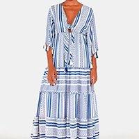 vestido longo jacquard geometrico