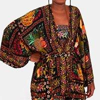 kimono tropicaliente - est tropicaliente_preto - u