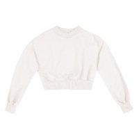 Blusão Moletom Feminino Cropped Em Algodão - Off White
