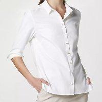 Camisa Básica Manga Longa Feminina De Algodão - Branco