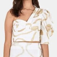 blusa drapeada ombro so maxi caju foil