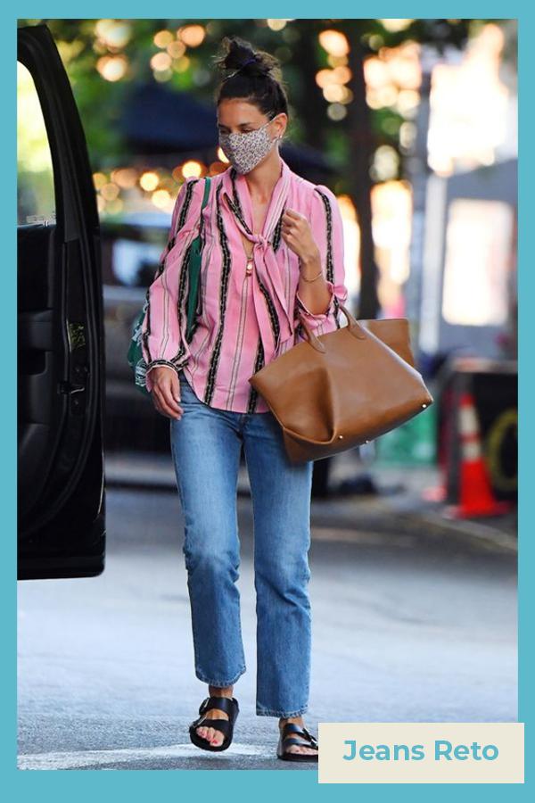 Katie Holmes  - Calça jeans reta - Katie Holmes - verão - street style  - https://stealthelook.com.br