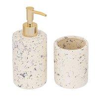 Kit Acessórios de Bancada 2 Peças de Cerâmica Areia Mart Collection