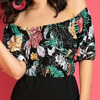 Quintess - Blusa Cropped Ciganinha Floral Preto