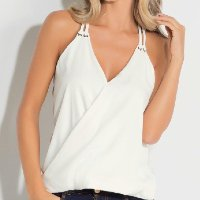Quintess - Blusa Off White com Transpasse Frontal