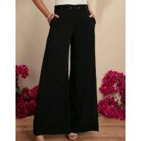 Quintess - Calça Pantalona Preta com Prega Lateral e Cinto