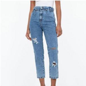 Calça Clochard Jeans Lisa com Puídos e Regulador na Cintura