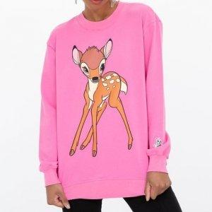 Blusão em Moletom Alongado Estampa Bambi