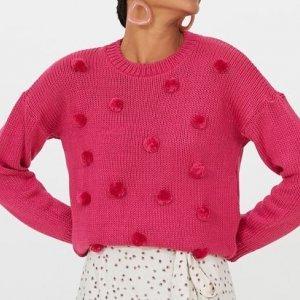 Blusão em Tricô Liso com Pompons