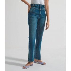 Calça Reta Jeans Cintura Super Alta com Detalhe no Cós