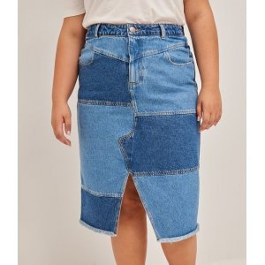 Saia Midi Jeans com Recortes e Fenda Curve & Plus Size
