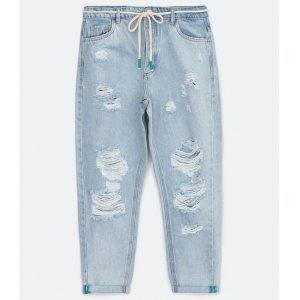Calça Boyfriend Jeans Com Puídos e Amarração de Cordão na Cintura