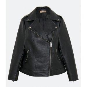Jaqueta Lisa em PU com Bolsos Curve e Plus Size