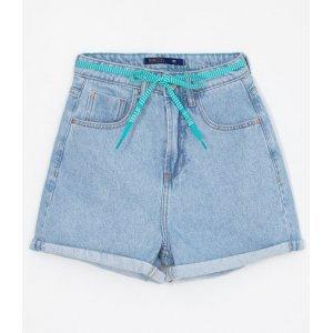 Short Jeans Mom com Cinto de Cordão