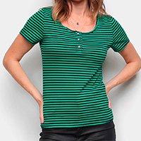 Blusa Top Moda Listrada Botões Feminina - Verde
