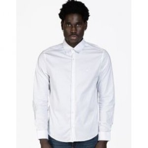 Camisa Masculina Elastano Bordado Branco Tamanho P