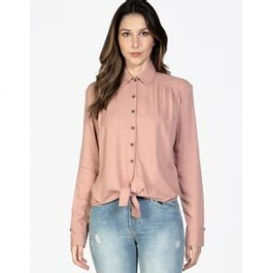 Camisa Feminina Cropped Nó Frente Rose Tamanho P