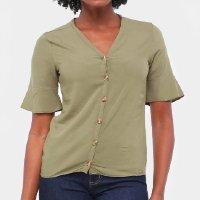 Blusa Lecimar Botões Feminina - Verde escuro