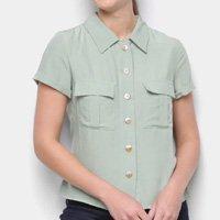 Camisa Favorita\' Manga Curta Bolsos Feminina - Verde