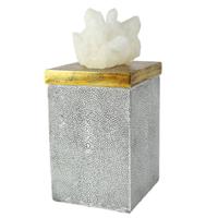 Pote Decorativo em Resina e Pedra Rhea - Branco