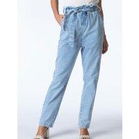 Quintess - Calça Mom Jeans Claro com Faixa na Cintura