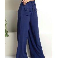 Quintess - Calça Pantalona Azul com Bolsos Frontais