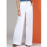 Quintess - Calça Pantalona com Bolsos Jeans Branca