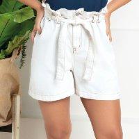 Quintess - Shorts de Sarja Branco Clochard com Faixa