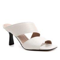 Mule Couro Shoestock Salto Sino - Off White