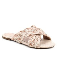 Rasteira Shoestock Corda Tiras Trançadas - Bege e Marrom