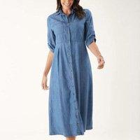 Vestido Chemise Acinturado - Zinzane Feminino - Jeans