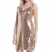 Vestido Ralm Tricot Paetê Corrente Alças Feminino - Dourado