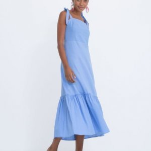 Vestido Midi em Linho com Amarração nas Alças
