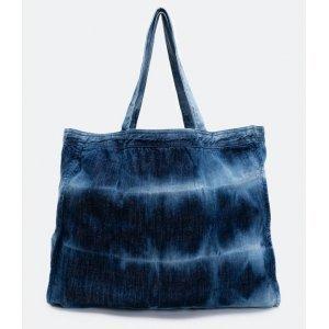 Bolsa Shopper Jeans Estampa Tie Dye Satinato