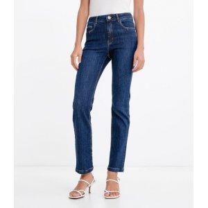 Calça Jeans Reta com Cintura Média
