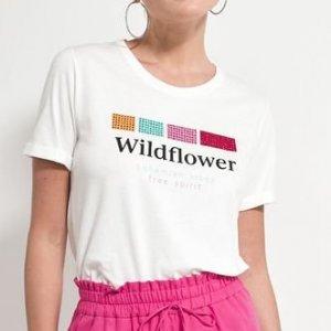 Blusa em Algodão Estampa Wildflower com Strass Coloridos
